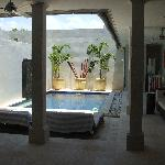beautiful pool area - 2 double sun lounges, day bed, tv & fans