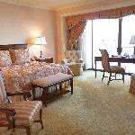 large spacious room with a king bed