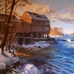 Painting Of The Grist Mill That Hangs In The Restaurant
