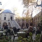 Coffee break in the courtyard of silk bazaar, Bursa