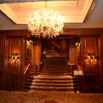 stunning chandeliers and woodwork