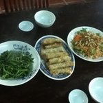 stir fried morning glory, crispy spring rolls & green papaya salad. All to die for!