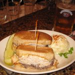 Black Forest Sandwich with potato salad. Roast beef and turkey with Thousand Island dressing and