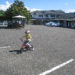 Our 4 yr old on one of the hotel bikes (free to use!)
