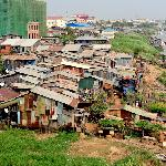 Shanty town along the Mekong River