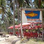 Mesas na beira da praia, cenário de cartão postal incluído na conta...