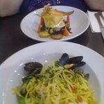 Seafood linguine & cod, bacon & mozzerella