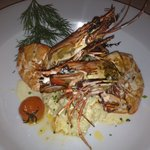 The fabulous seafood risotto with giant prawns