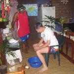 Prepping coconut cream for lovo