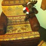 moose doll greets you in the room