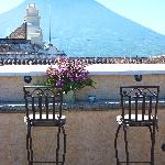 Rooftop patio, with volcano view.