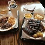 beef brisket (left), ribs(right)