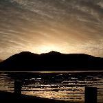 Sunset over Lake Paringa from Lake Paringa Lodge jetty