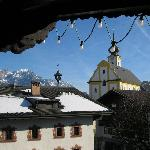 View from our Balcony, lovely!  Bring earplugs, the church bells ring 112 every morning at 7am!!