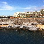 A  view across the small beach looking to the hotel