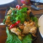 Stir Fried chicken with pepper and garlic