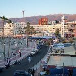 Hotel (rust coloured block) across Torviscas