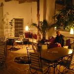 Riad courtyard at night