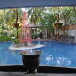 view across the pool towards the breakfast room/ restaurant