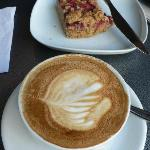 flat white and date slice
