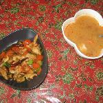 the cashew chicken & tom yum goong soup we made