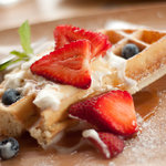 Belgium Waffle with berrys and cream