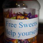 Free sweets, free mineral water, free tea and coffee at any time!