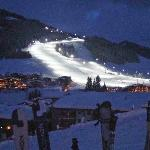 View of the Hinterglemm night piste from the GoaB Stall