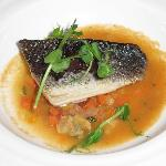 Sea bass on a shellfish minestrone