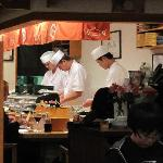 Itamae at sushi bar