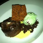 Chocolate Bread Pudding with Mint Chip Ice Cream