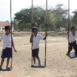 school children near the temples