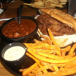 Barbeque brisket sandwich and sweet potato fries