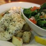Grilled blue cod filet with roasted potatoes and peas puree for the non-mussel eater :)