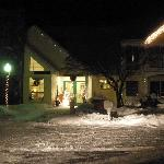 Front of Lodge at night