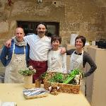 Andrea, Chef Simone Biso, me & Angela (from left to right) - class in a vinery in Otranto