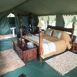 Inside our luxury tent!
