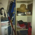 Messy personal belongings in the closet