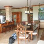 Kitchen, dining room, living room area