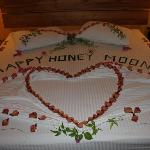 Bed decorated for honeymoon