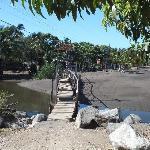 The wood footbridge over the aquaduct from town to La Vida Loca