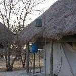 the typical tented camp plumbing: warm shower from the black bag. just what you need.