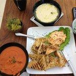 Tomato Thai soup, Potato Soup and Homemade Pimiento Cheese