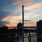 On the Bob Kerrey Bridge at Sunset