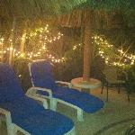 Pool chairs at night