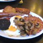 our breakfast in cafe around corner called the brunch £6.50 buy 1 get 1 half price + toast n cof
