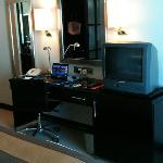 Work desk, TV and refrigerator