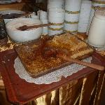 Real honeycomb on breakfast buffet