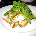Ling from Tasmania, baby chat potatoes & rocket salad
