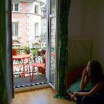 Der süße Balkon des grünen Zimmers